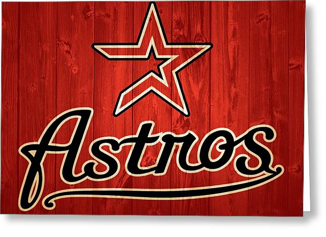 Houston Astros Barn Door Greeting Card by Dan Sproul