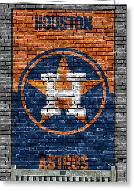 Houston Astros Brick Wall Greeting Card by Joe Hamilton