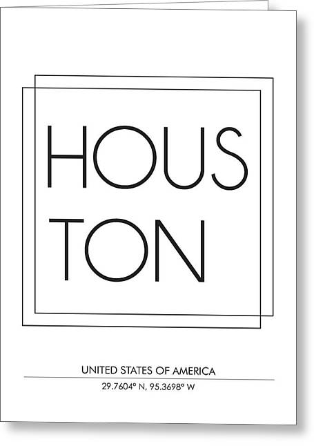Houston City Print With Coordinates Greeting Card
