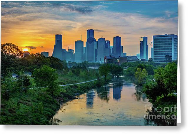 Houston Dawn Greeting Card by Inge Johnsson