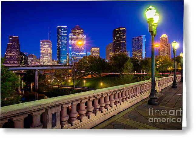 Houston Evening Stoll Greeting Card by Inge Johnsson