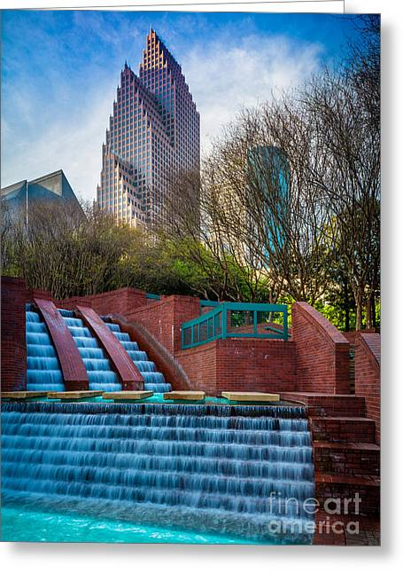 Houston Fountain Greeting Card by Inge Johnsson