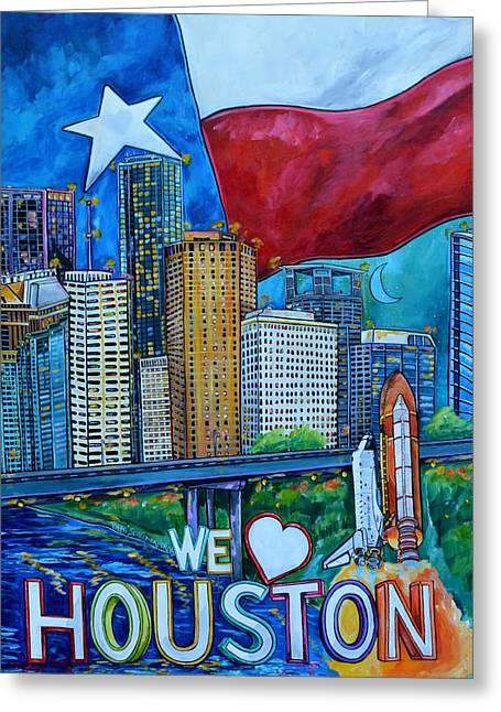 Houston Montage Greeting Card by Patti Schermerhorn