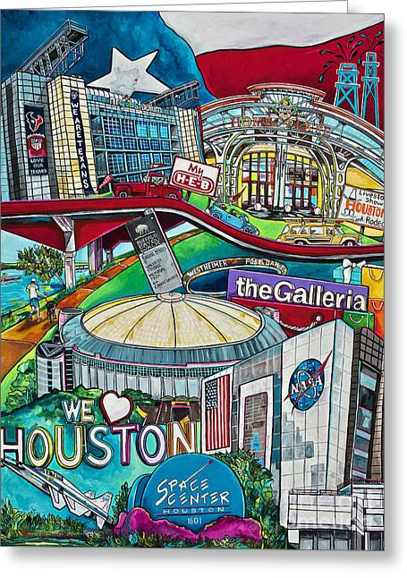 Houston Montage Two Greeting Card