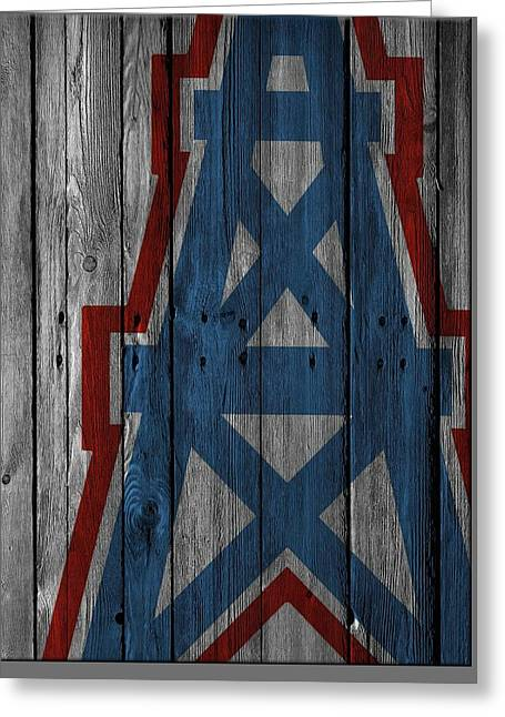 Houston Oilers Wood Fence Greeting Card by Joe Hamilton