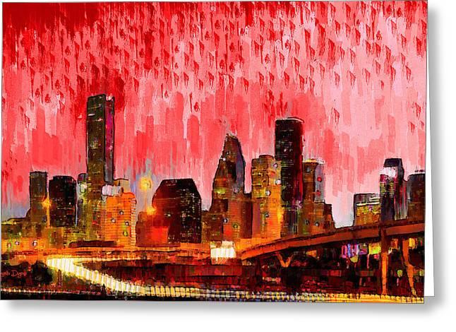 Houston Skyline 113 - Pa Greeting Card by Leonardo Digenio
