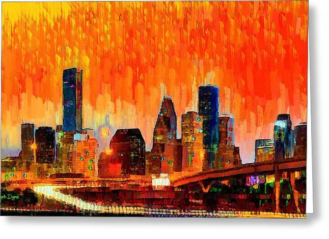 Houston Skyline 116 - Pa Greeting Card by Leonardo Digenio
