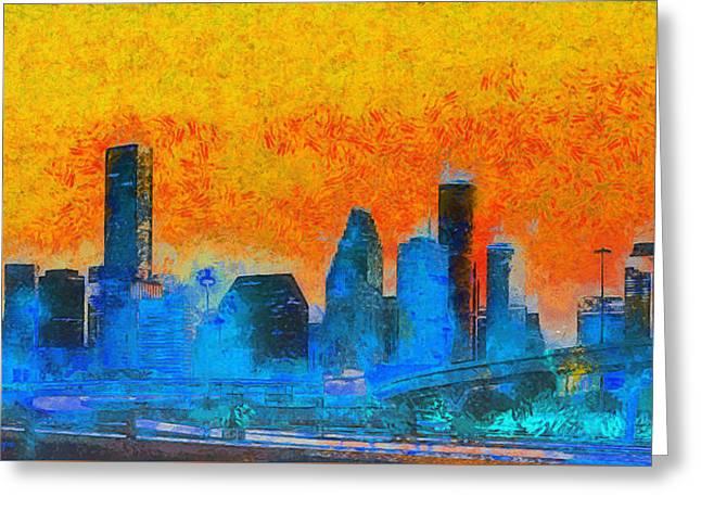Houston Skyline 41 - Da Greeting Card by Leonardo Digenio