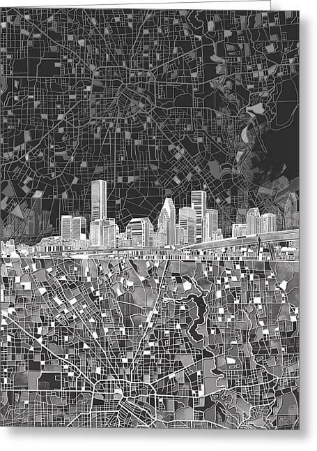 Houston Skyline Map Black And White Greeting Card