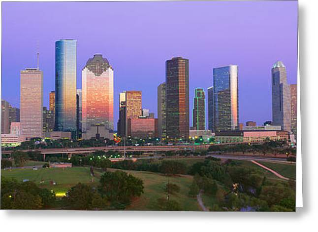 Houston Skyline, Memorial Park, Dusk Greeting Card by Panoramic Images
