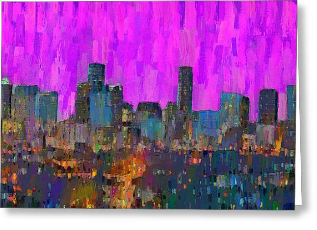 Houston Skyline Night 61 - Da Greeting Card