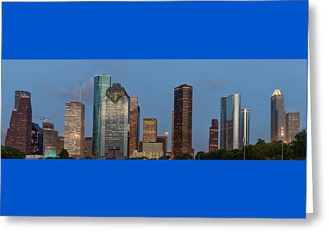 Greeting Card featuring the photograph Houston Skyline Panorama by Jonathan Davison