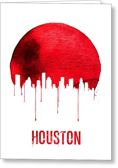 Houston Skyline Red Greeting Card