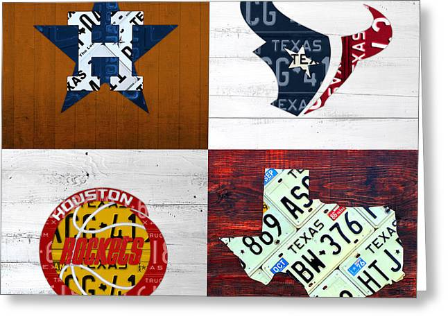 Houston Sports Fan Recycled Vintage Texas License Plate Art Astros Texans Rockets And State Map Greeting Card by Design Turnpike