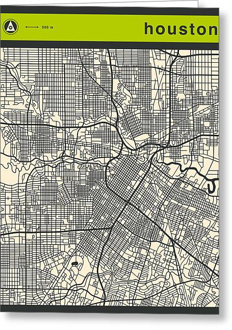 Houston Street Map Greeting Card by Jazzberry Blue