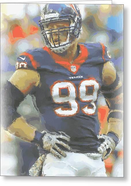 Houston Texans Jj Watt 2 Greeting Card by Joe Hamilton