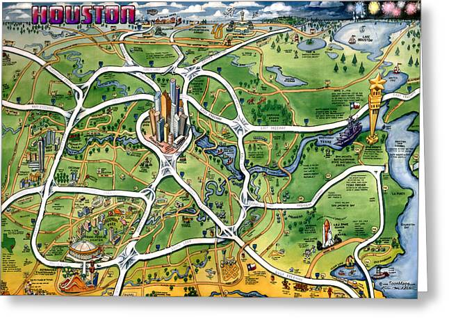 Houston Texas Cartoon Map Greeting Card