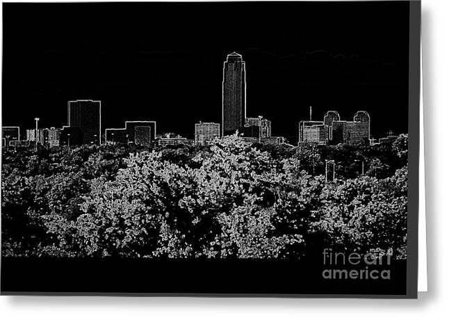 Houston Texas Neon Skyline Black And White Greeting Card by Ella Kaye Dickey