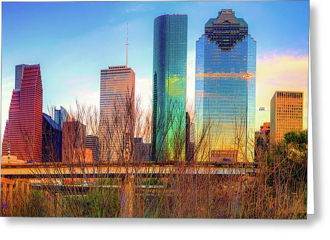 Greeting Card featuring the photograph Houston Texas Skyline At Sunset by Gregory Ballos