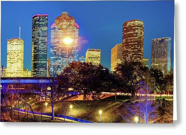 Houston Texas Skyline Cityscape Greeting Card by Gregory Ballos
