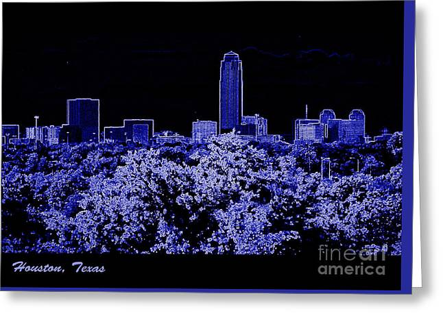 Houston Texas Skyline Greeting Card by Ella Kaye Dickey
