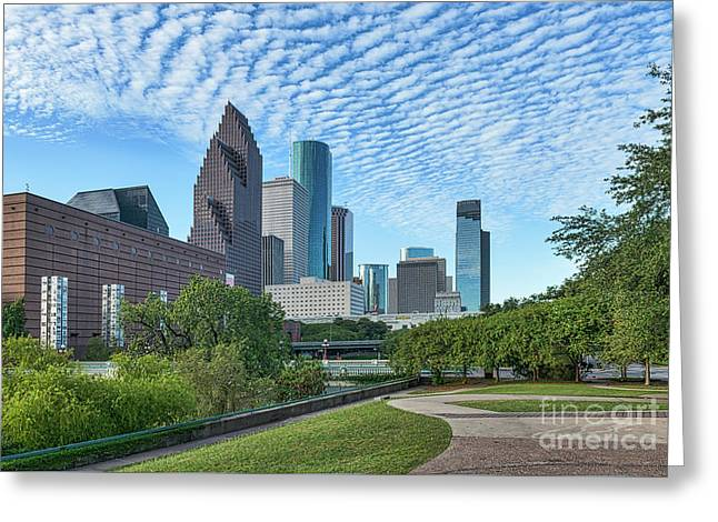 Houstons Skyline Sesquicentennial Park Greeting Card by Tod and Cynthia Grubbs