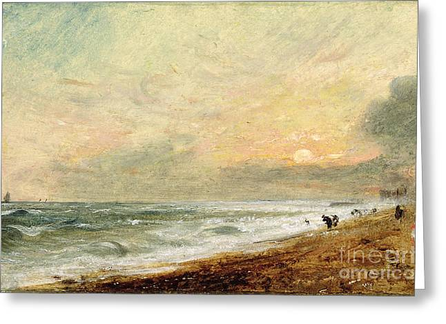 Romanticist Greeting Cards - Hove Beach Greeting Card by John Constable