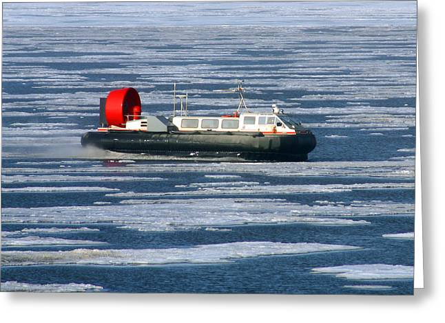 Hovercraft On Frozen Artic Ocean Greeting Card by Anthony Jones