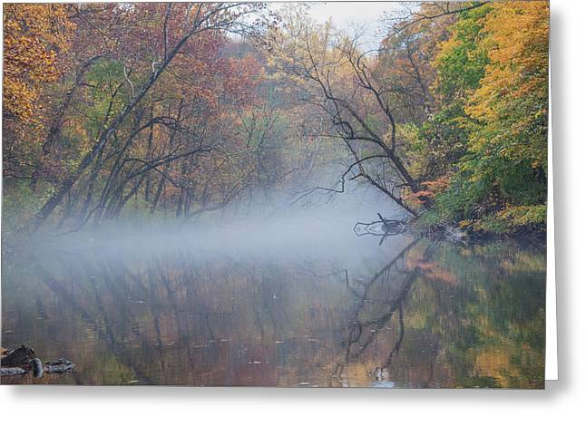 Hovering Mist On The Wissahickon Creek Greeting Card by Bill Cannon