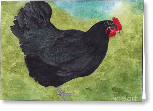 How Do You Like My Little Black Dress? Iridescent Black Hen Greeting Card