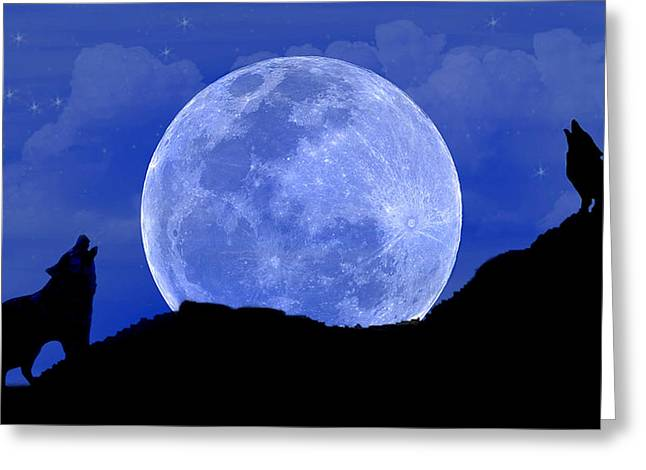 Howl At The Moon Greeting Card by Evelyn Patrick
