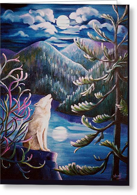Greeting Card featuring the painting Howlin' The Blues by Renate Nadi Wesley