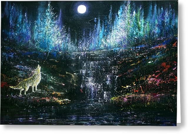 Howling At The Moon Greeting Card by Ann Marie Bone