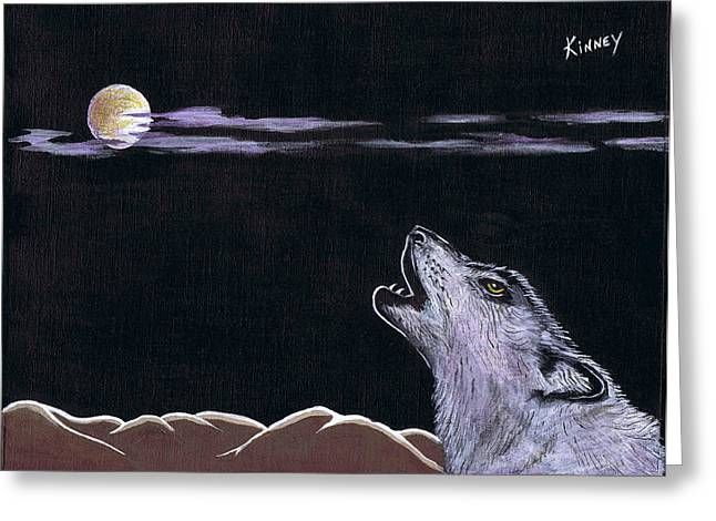 Howling At The Moon Greeting Card by Jay Kinney