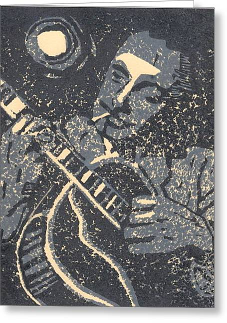 Howling At The Moon Greeting Card by John Brisson