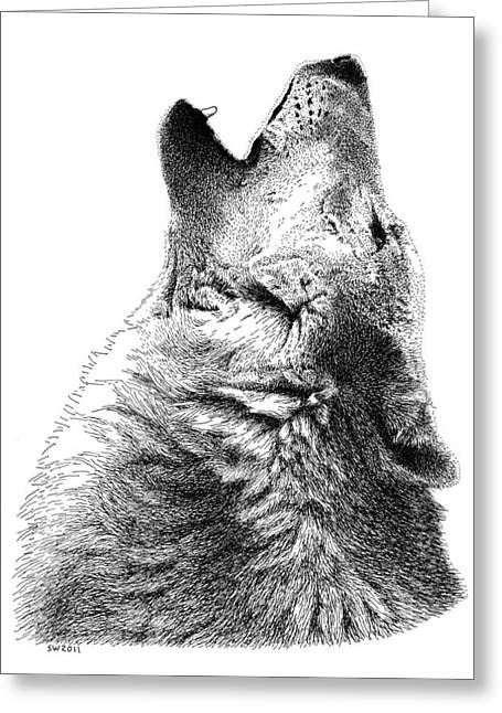 Howling Timber Wolf Greeting Card