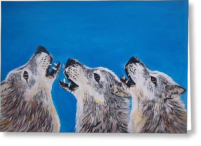 Howling Trio Greeting Card