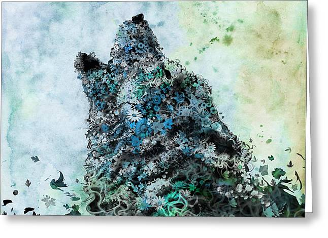 Howling Wolf Floral 3 Greeting Card