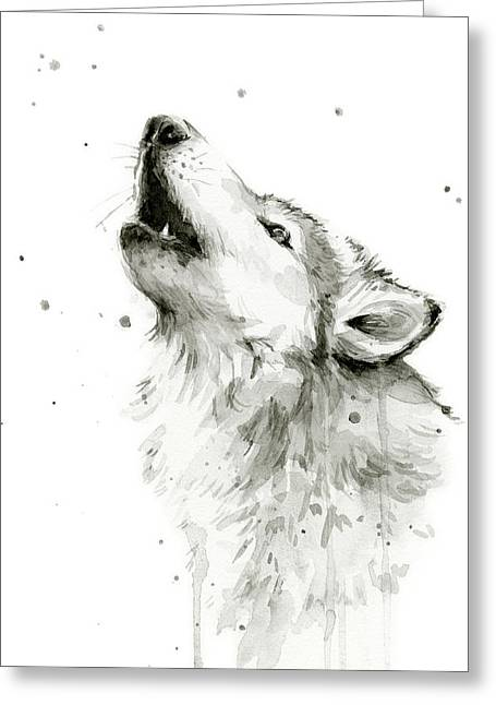 Howling Wolf Watercolor Greeting Card by Olga Shvartsur