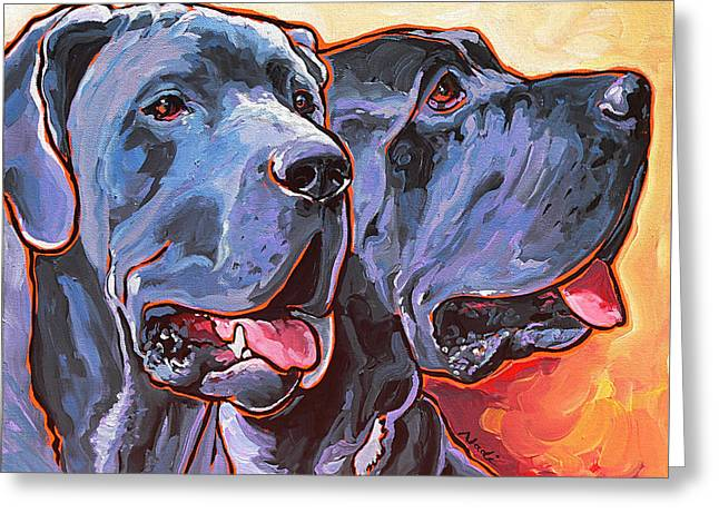 Greeting Card featuring the painting Howy And Iloy by Nadi Spencer