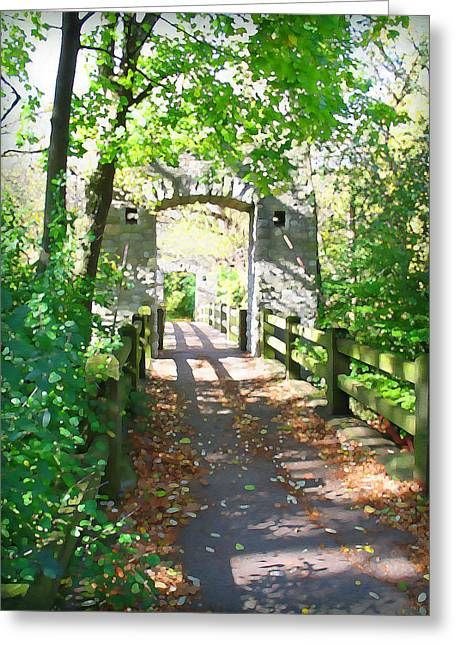 Hoyt Park Footbridge Vertical Greeting Card