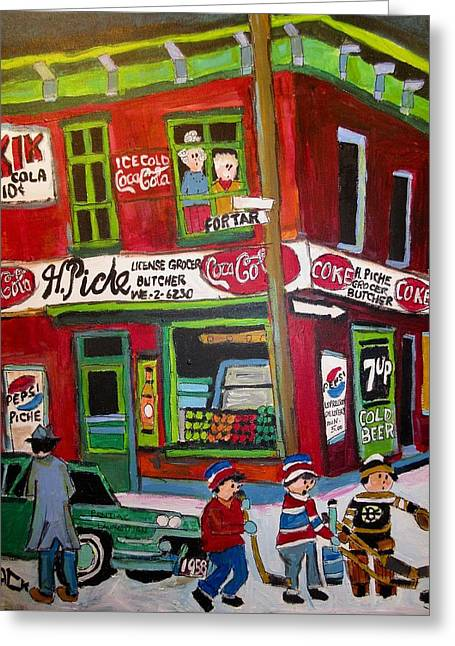 H. Piche Grocer Goose Village Montreal Vintage Greeting Card
