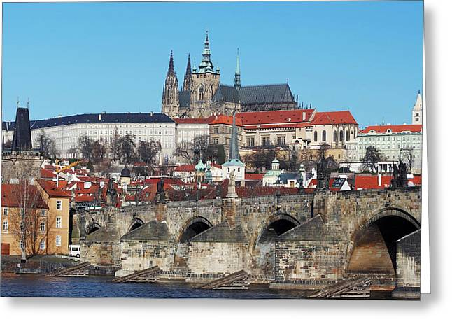 Hradcany - Cathedral Of St Vitus And Charles Bridge Greeting Card by Michal Boubin
