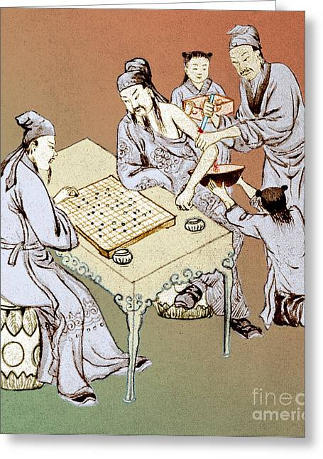 Hua Tuo Operating While Patient Plays Go Greeting Card by Science Source