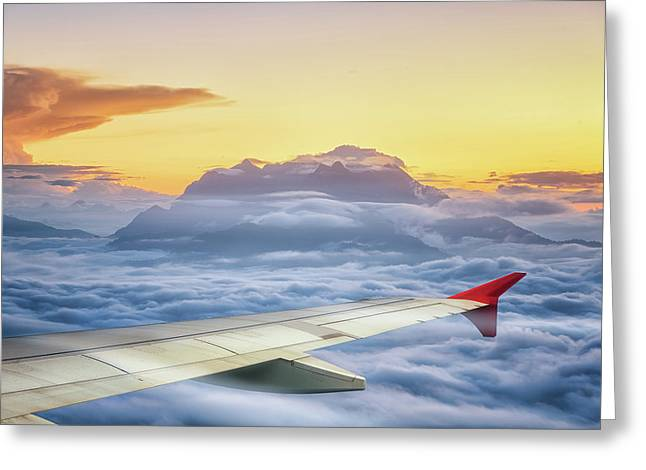 Huai Nam Dang National Park With Wing Of Air Pland Greeting Card by Anek Suwannaphoom