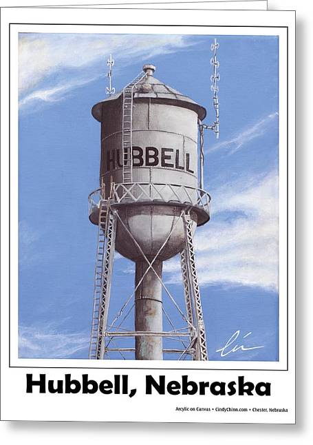 Hubbell Water Tower Poster Greeting Card by Cindy D Chinn