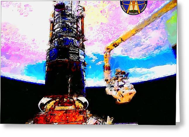 Hubble Space Telescope Servicing Mission  Greeting Card by Art Gallery