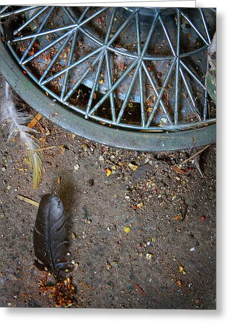 Hubcap And Feather Greeting Card by Amanda Wimsatt