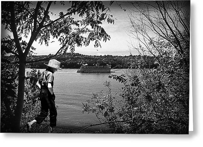 Huck Finn Type Walking On River  Greeting Card