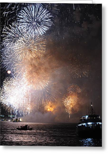 Hudson River Fireworks Greeting Card by Terese Loeb Kreuzer